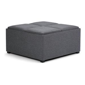 "Avalon 35"" Square Coffee Table Storage Ottoman, Slate Grey Linen Look Fabric"