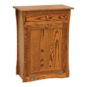 Amish Furniture Oak Kitchen Trash Bin Tilt Out Drawer 13