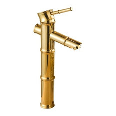 Ian Bamboo Style Gold Finish Bathroom Sink Faucet