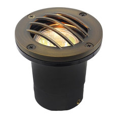 12V Composite Ground Well Light With Curved Grill Cover, Bronze