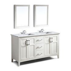 "Winston 60"" Bath Vanity, Soft White With Bombay White Quartz Marble Top"