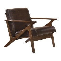 Omax Decor Zola Lounge Chair, Brown/Walnut