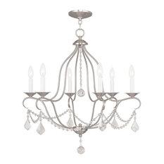 Brushed nickel chandeliers houzz world of crystal chandeliers 6 light with brushed nickel finish brushed nickel chandeliers aloadofball Image collections