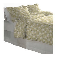 Pointehaven 170 GSM Flannel Duvet Set, Snow Flakes Oatmeal, Full/Queen