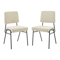 Craft Dining Side Chair Upholstered Fabric Set Of 2 - Black Beige