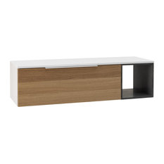 Mactan Oak Bathroom Vanity, 135 cm, Grey