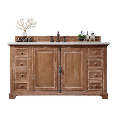 "Providence 60"" Driftwood Single Vanity w/ 2cm Carrara White Marble Top"