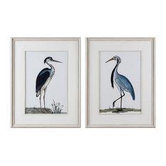 Set of 2 Coastal Heron Wall Art Prints, Birds Audubon Vintage Style Wood Frame