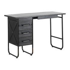 Black Metal Desk, 4 Drawers