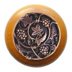 Grapevine Maple Wood Knob, Antique-Style Copper