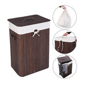 Costway Rectangle Bamboo Hamper Laundry Basket Washing Cloth Bin Rangier Lid