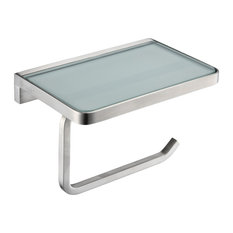 Bagno Bianca Glass Shelf With Toilet Paper Holder, Brushed Nickel