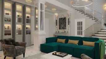 Проект гостиной в стиле ар-деко, г. Москва