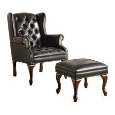 coaster fine furniture traditional black wing back button tufted chair and ottoman accent seating