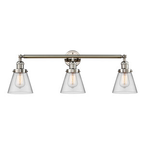 Small Cone 3-Light Bath Fixture, Clear Glass, Polished Nickel
