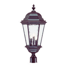 Telfair Collection Post-Mount 3-Light Outdoor Light, Marbleized Mahogany