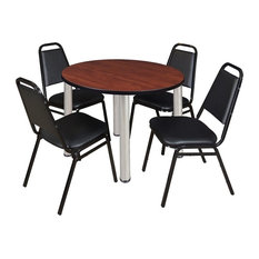 """Kee 36"""" Round Breakroom Table, Cherry/Chrome, 4 Restaurant Stack Chairs, Black"""