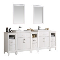 """Cambridge 84"""" White Double Sink Traditional Vanity With Mirrors, FFT3071BN"""