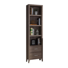 Wooden Media Tower With Four Open Shelves And Two Drawers Dark Taupe Brown