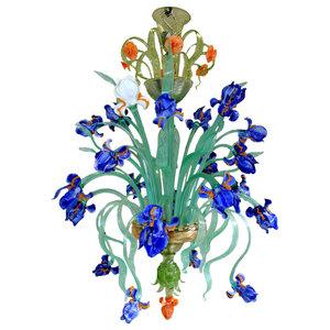 Iris Blu Murano Glass Chandelier, 12 Lights