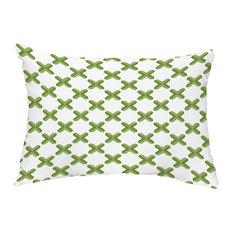 "Criss Cross 14""x20"" Abstract Decorative Outdoor Pillow, Green"