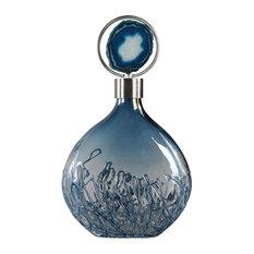 Blue Agate Art Glass Bottle, Elegant Vase Silver Lid Stone