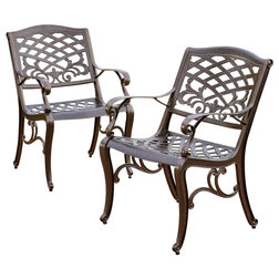 Mediterranean Outdoor Dining Chairs by GDFStudio