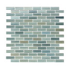 "Reflections Hand-Painted Glass Mosaic Subway Tile, 12""x12"""