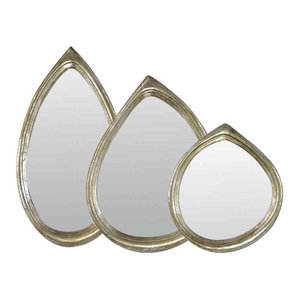 EMDE Silver Teardrop Mirror, Set of 3