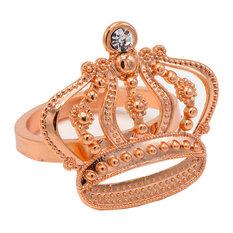 Elegant Elephant Pine Tree Crow Napkin Rings, Set of 4, Crown-Rose Gold
