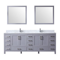 "Jacques 84"" Double Vanity Dark Grey,White Carrera Marble Top,Square Sinks&34""Mir"