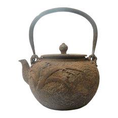 Chinese Rustic Iron Teapot Shape Display Decor