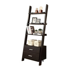 Bookcase Ladder With 2 Storage Drawers, Cappuccino