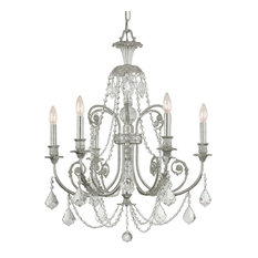 6-Light Italian Clear Crystal Chandelier I in Silver Finish