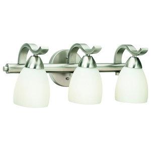 Forte Lighting 3 Light Bathroom Vanity Light in Brushed Nickel