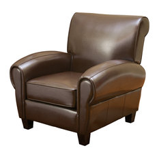 GDFStudio   Ridgemark Leather Club Chair, Chocolate Brown   Armchairs And  Accent Chairs