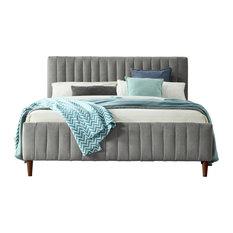 Omax Decor Spencer Upholstered Platform Bed, Gray, Queen