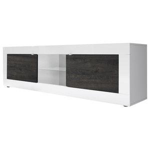Dolcevita II Gloss TV Stand, White Gloss/Wenge