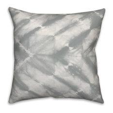 Grey Watercolor Shibori Print 20x20 Throw Pillow