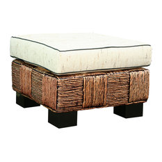 Water Hyacinth Rome Woven Ottoman with Cushion
