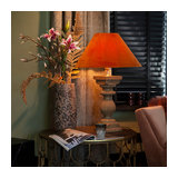 Rural table lamp with velvet shade pumpkin spice 50 cm - Hyssop
