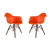 Poly and Bark Vortex Arm Chair Walnut Leg, Orange, Set of 2