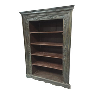 Mogul Interior - Consigned Reclaimed Indian Hand-Carved Antique Book Shelf - Bookcases
