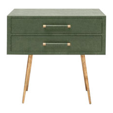 GLOBAL HOME - Linen Texture Double Nightstand, Pine - Nightstands and Bedside Tables