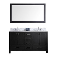 60-inch Double Bathroom Vanity Zebra Gray Marble Top Square Sink Mirror