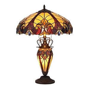 "Chloe-Lighting 3-Light Victorian Double Lit Table Lamp 18"" Shade"