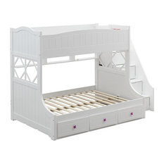 Meyer Twin/Full Bunk Bed with Storage Ladder and Drawers in White