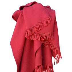 Modern Throws Wool Throw Blanket, Red