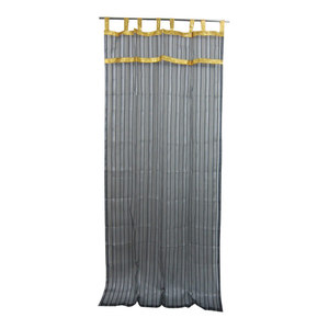 Mogul Interior - 2 Organza Sheer Curtains Black Silver Striped with Golden Border Indian Drapes, - Curtains