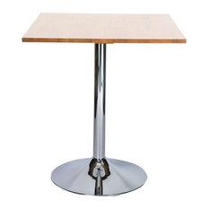 Ramizon Chrome Square Bar Poseur Table, Oak, 700 mm